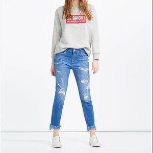 Zara Fringe Distressed Skinny Jeans Size 4